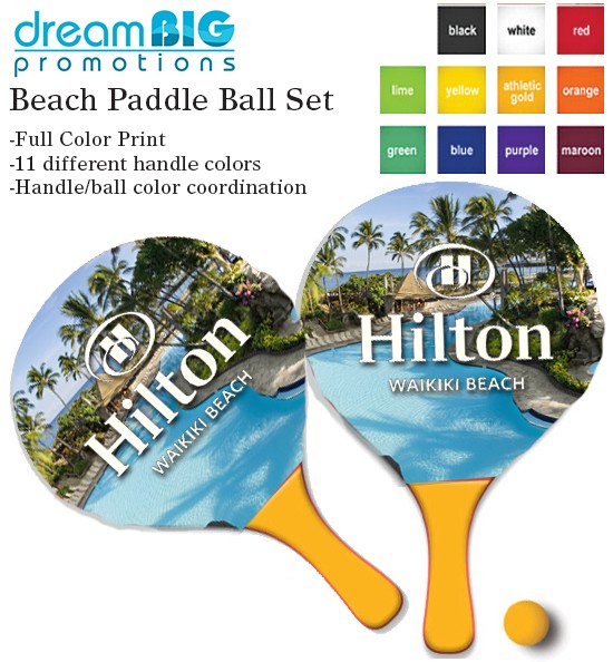 Full Color Print Paddle Ball Set